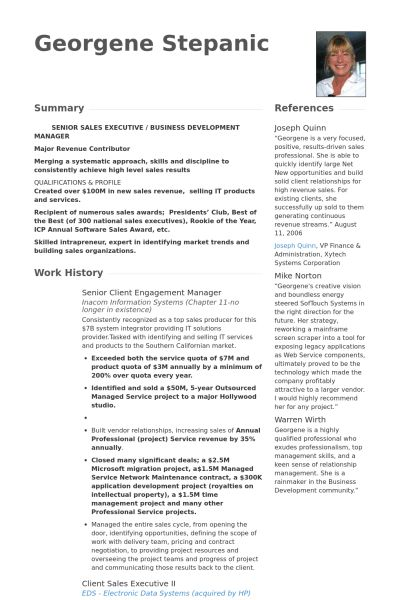 Engagement Manager Resume samples - VisualCV resume samples database