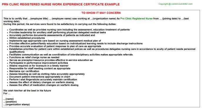 Prn Clinic Registered Nurse Work Experience Certificate