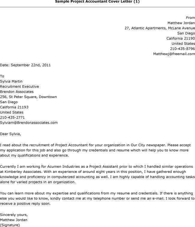 cover letter for accountant