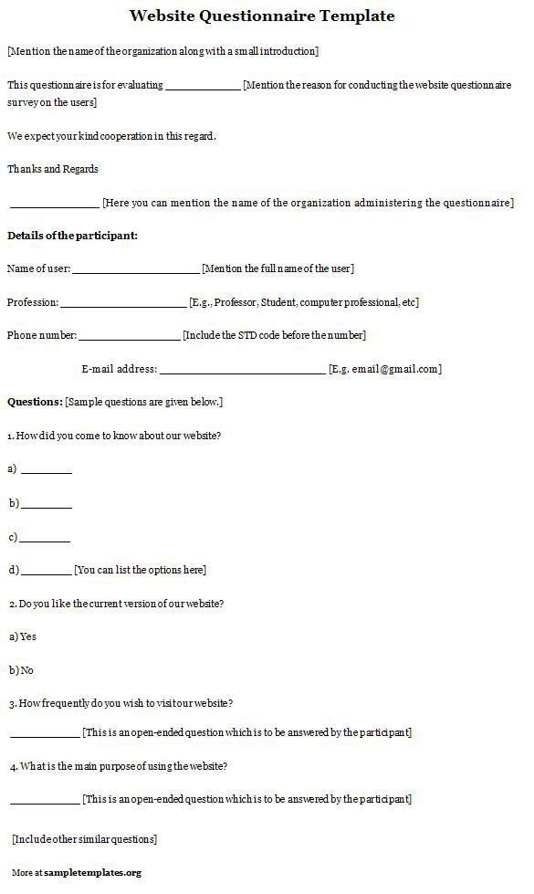 Questionnaire Template for Website, Template of Website ...