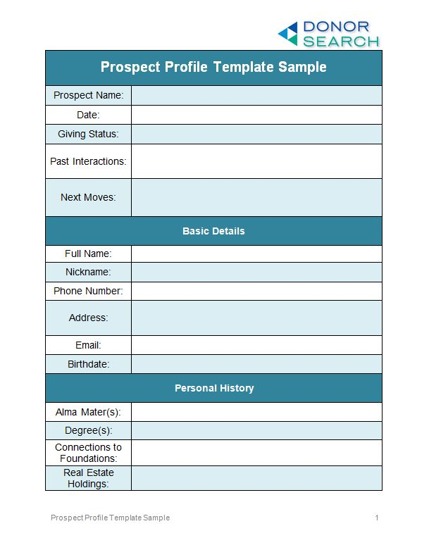 Perfect Your Prospect Profile Templates [Free Examples] | DonorSearch