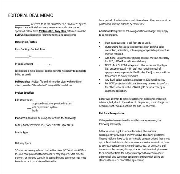 Deal Memo Template – 10+ Free Word, PDF Documents Download   Free ...