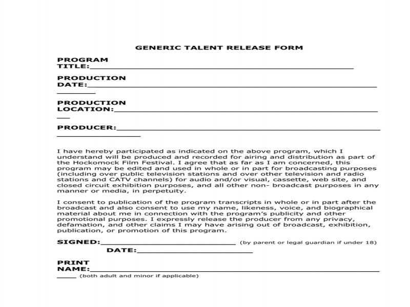 Talent Release Form. Talent Release Form This Talent Release Form ...