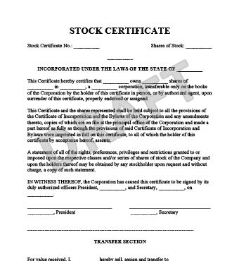 Create a Stock Certificate Template | Legal Templates