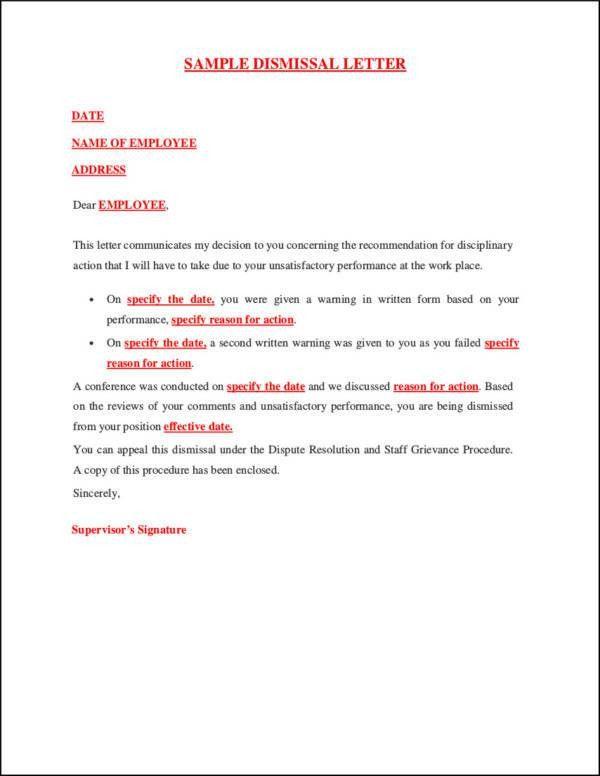 dismissal letter template
