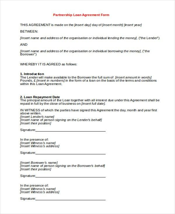 9+ Sample Partnership Agreement Forms   Free Sample, Example, Format