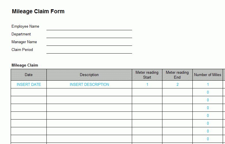 Business Expense Mileage Form Template - Bizorb