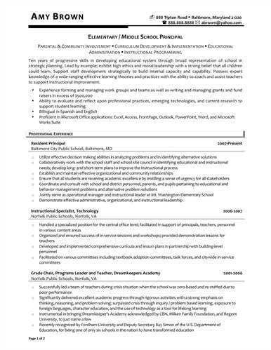 principal resumes school administrator principals resume sample