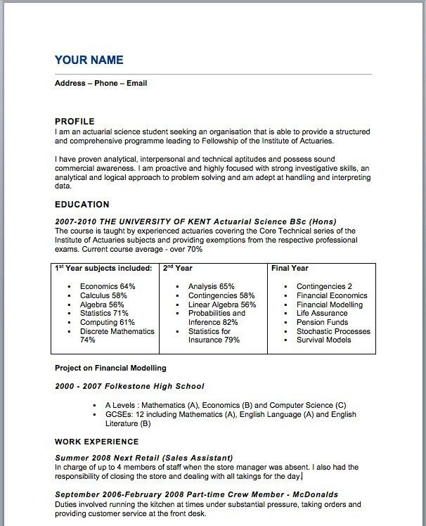 actuarial resume example resume example actuarial resume