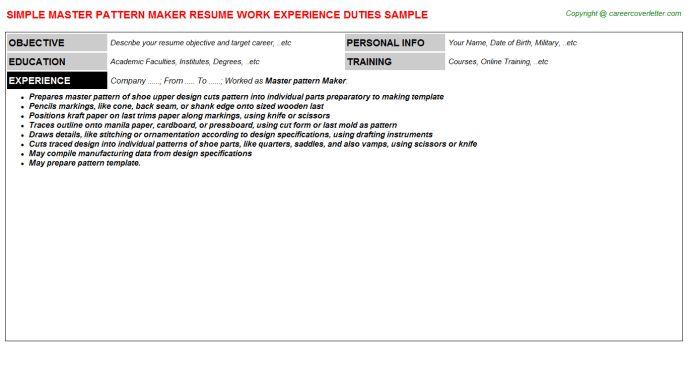 Master Pattern Maker Job Title Docs