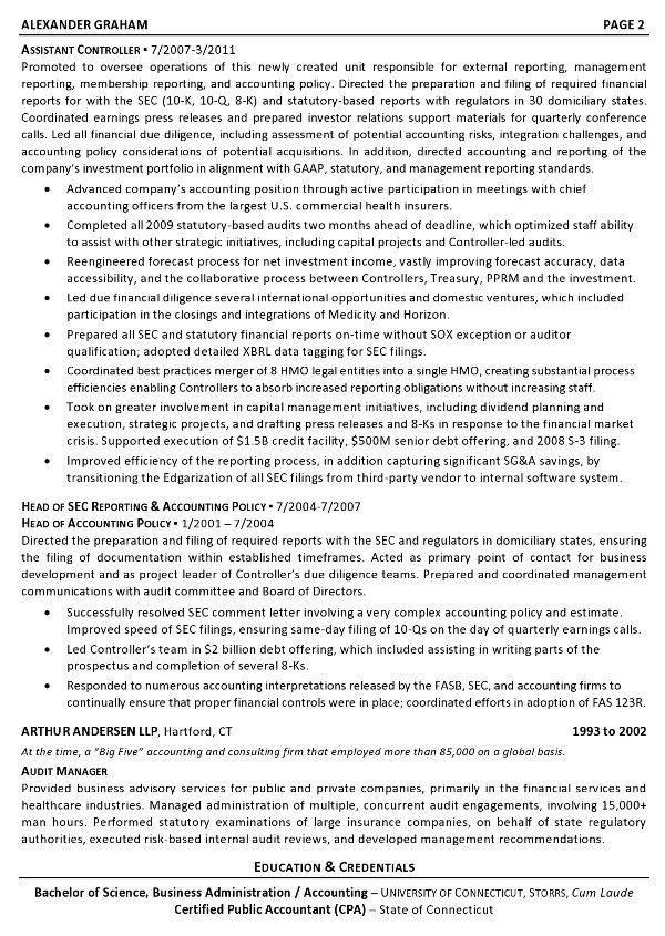Resume Sample 6 - Controller - Chief Accounting Officer - Business ...