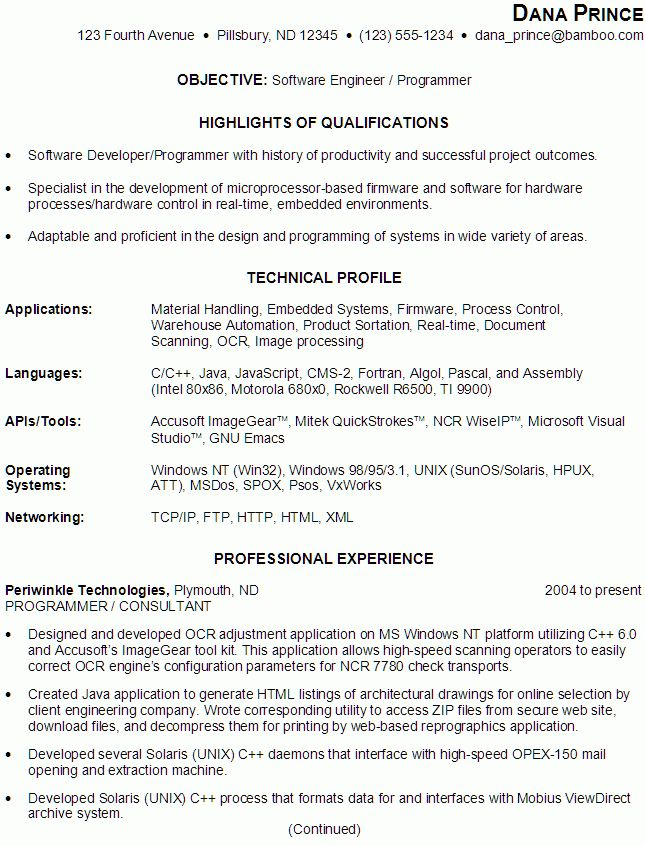 Sample Resume for someone seeking a job as a Software Engineer ...