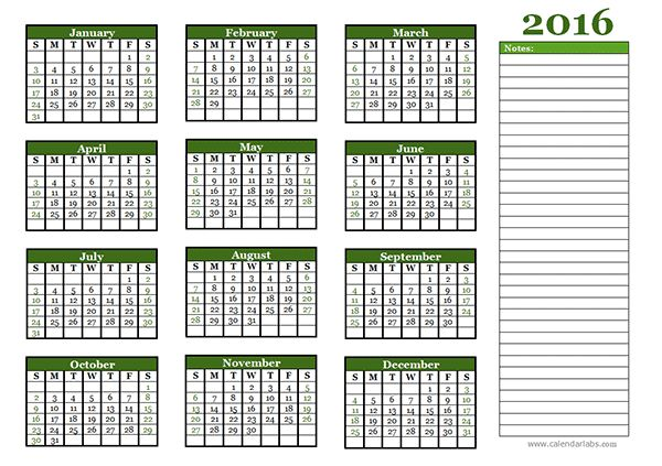 2016 Yearly Calendar - Free Printable Templates