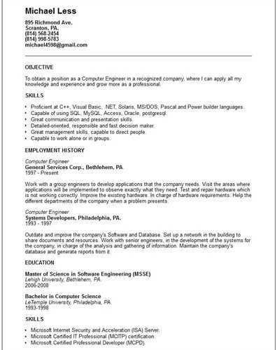 """Computer Engineer <a href=""""http://cv.tcdhalls.com/resume-e.html ..."""