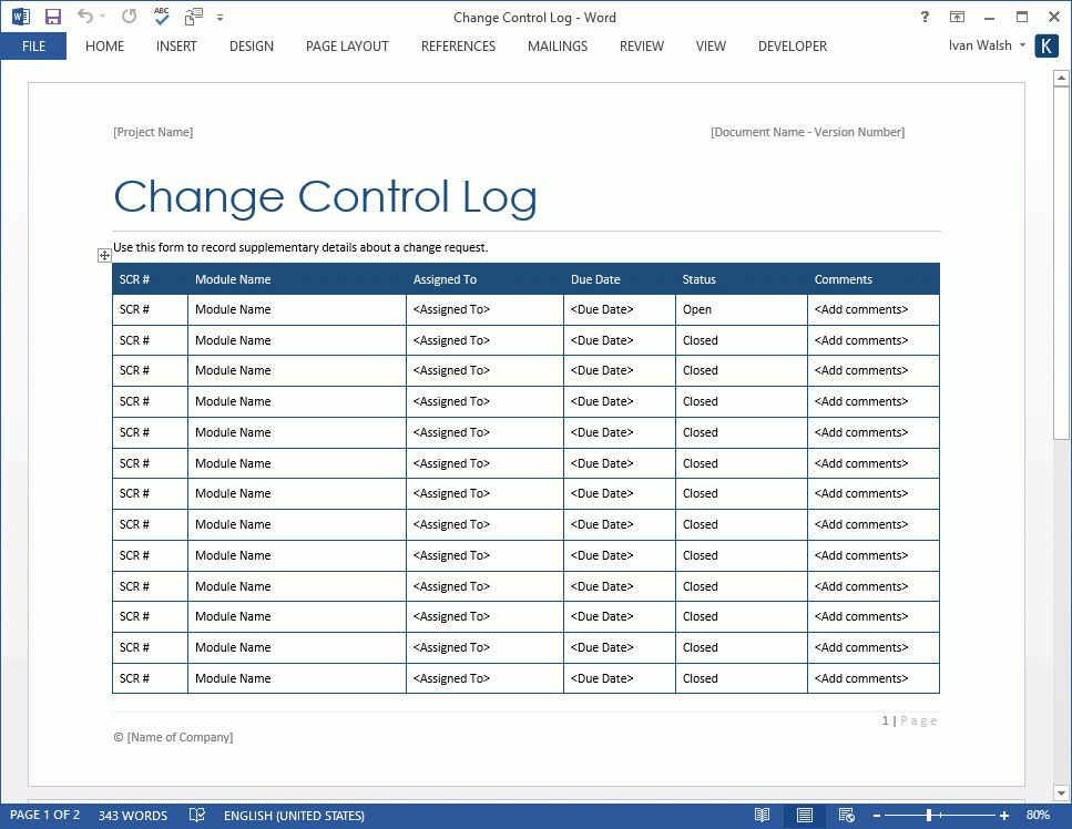 Change Control Log – MS Excel/Word – Software Testing Template