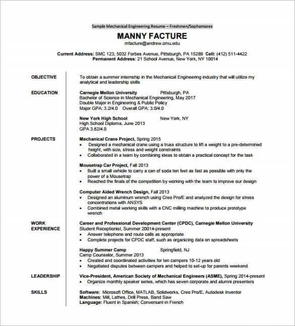 Sample Resume For Fresher Mechanical Engineering Student - Best ...