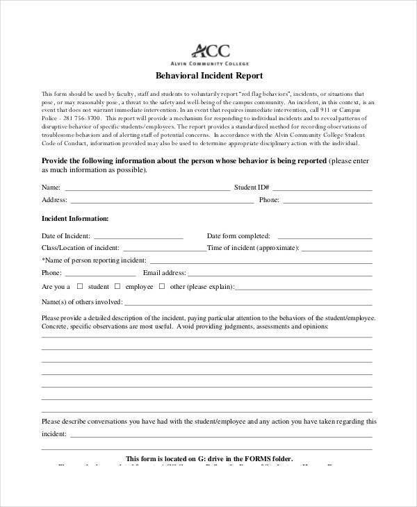 Behavior Incident Report Templates - 8+ Free PDF Format Download ...