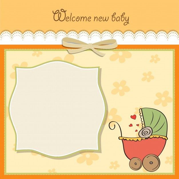 Baby announcement card template Vector | Free Download