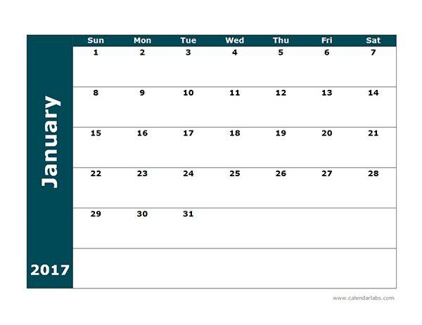 2017 Blank Calendar Template - Free Printable Templates