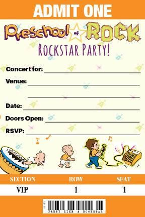 Preschool of Rock - Party Invitations - Concert Tickets Invites!