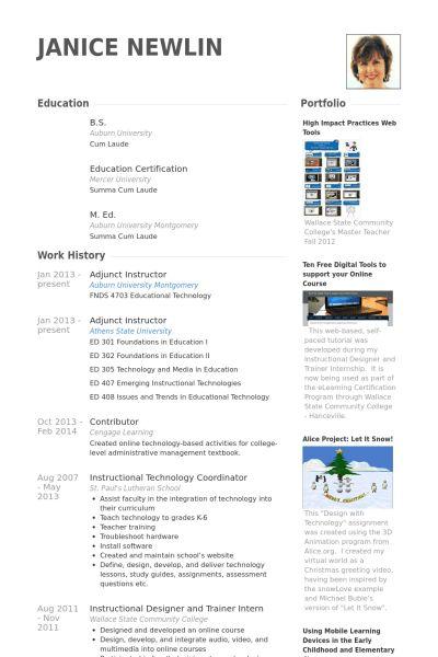 Adjunct Instructor Resume samples - VisualCV resume samples database
