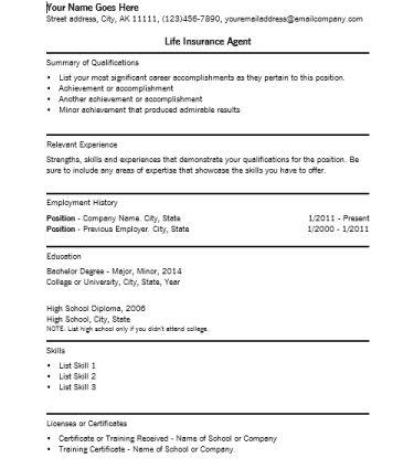 Life Insurance Agent Resume Template | RecentResumes.com