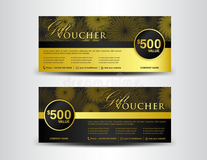 Gold And Black Gift Voucher Template, Coupon Design,ticket, Bann ...