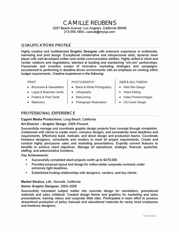 Resume Example Graphic Design graphic design sample resume graphic ...