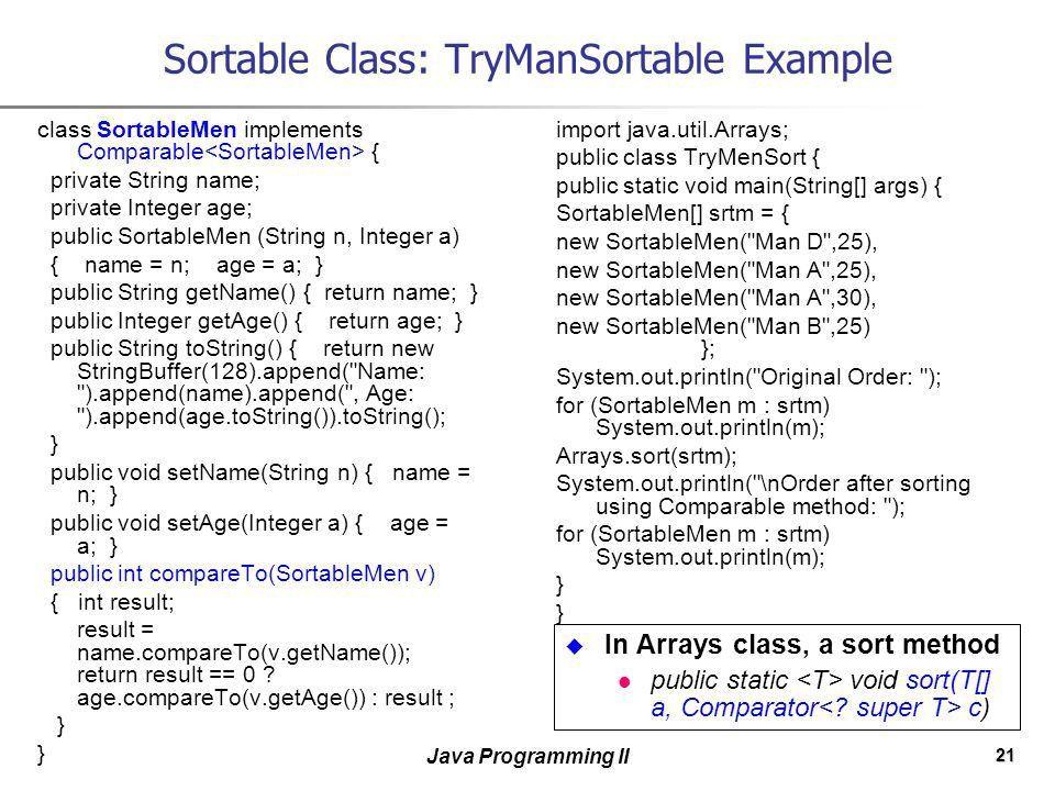 1 Java Programming II Collections. 2 Java Programming II Contents ...