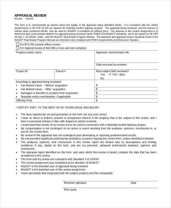 8+ Sample Land Appraisal Forms - Sample, Example, Format