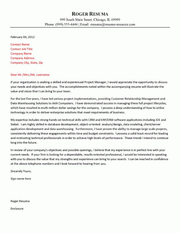 Technology Cover Letter Example