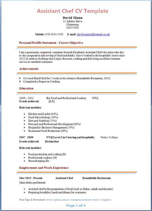 chef resume sample examples sous chef jobs free template chefs ...