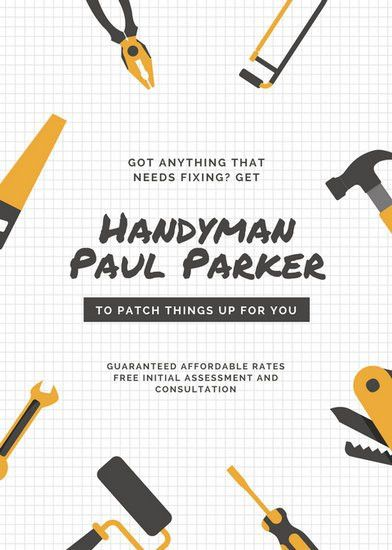 Dark Gray Illustrated Handyman Flyer - Templates by Canva