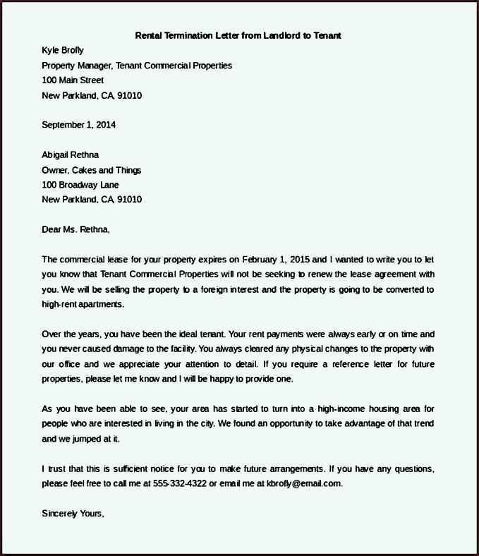 Editable Rental Termination Letter from Landlord to Tenant ...