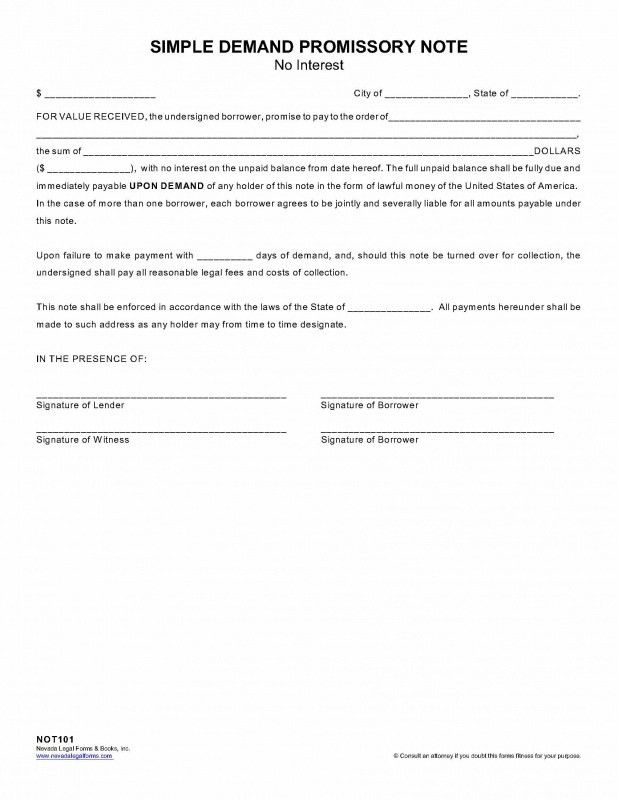 SIMPLE DEMAND PROMISSORY NOTE - Nevada Legal Forms & Tax Services Inc.