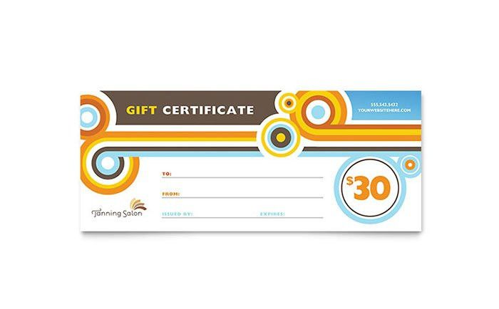 Tanning Salon Gift Certificate Template - Word & Publisher