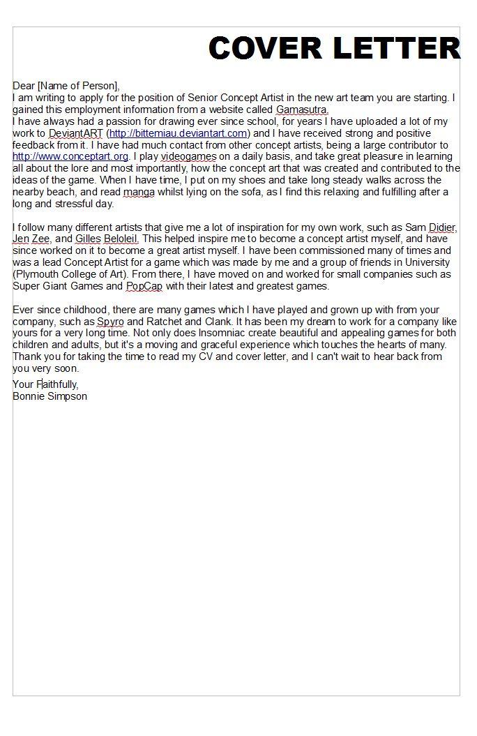 DEVELOPMENT] Writing a Cover Letter | [Bonnie Simpson] - Games Design