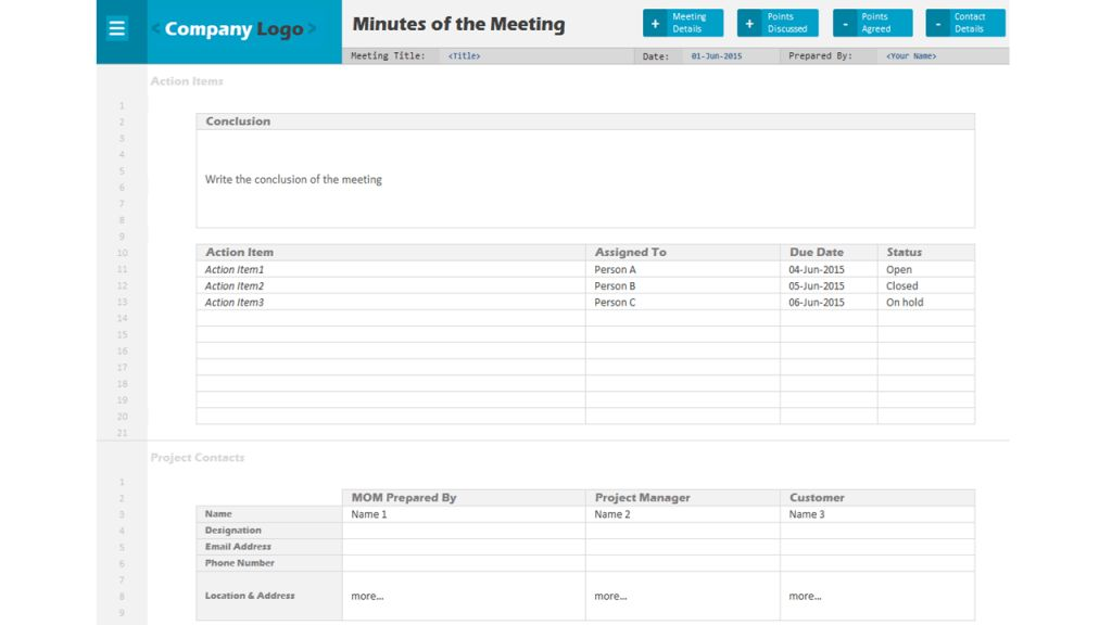 project management meeting notes template | Professional Templates