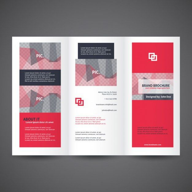 Red trifold brochure template Vector | Free Download
