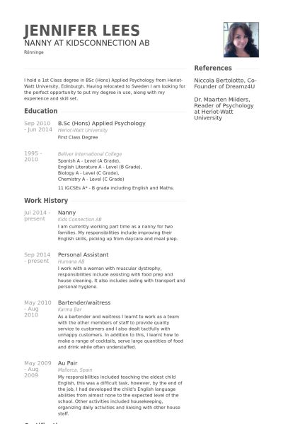 Nanny Sample Resume] Unforgettable Full Time Nanny Resume Examples ...