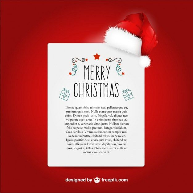 Christmas letter template with Santa Claus hat Vector | Free Download