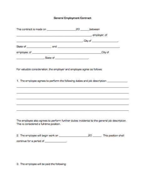 General Employment Contract | Business Forms