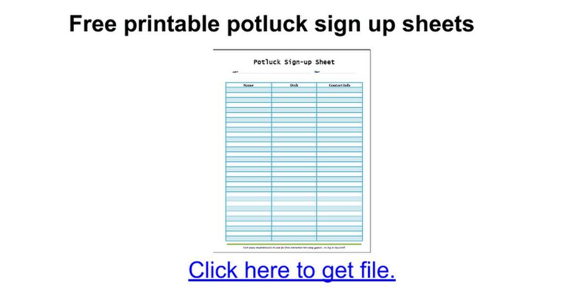 Free printable potluck sign up sheets - Google Docs