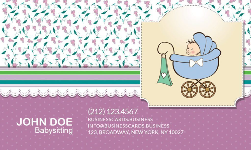 Free Babysitting Business Card Template for Photoshop : Business ...