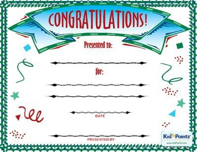 Congratulations Award | Kid Pointz | Elementary PE | Pinterest ...