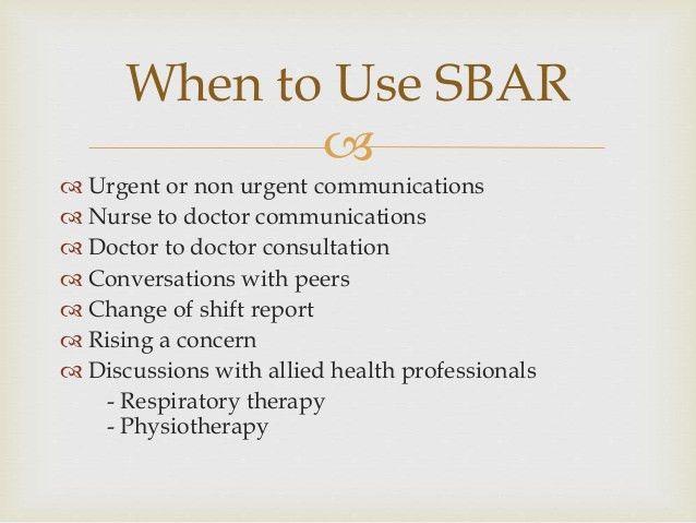 SBAR communication model in healthcare organization