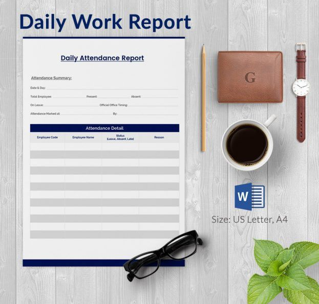 Daily Report Template Word Download : Selimtd