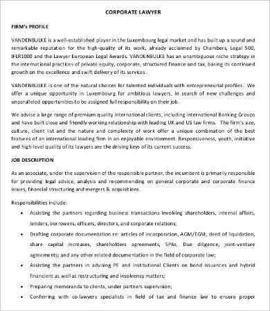 Lawyer Job Description - 8+ Free PDF Documents Download | Free ...