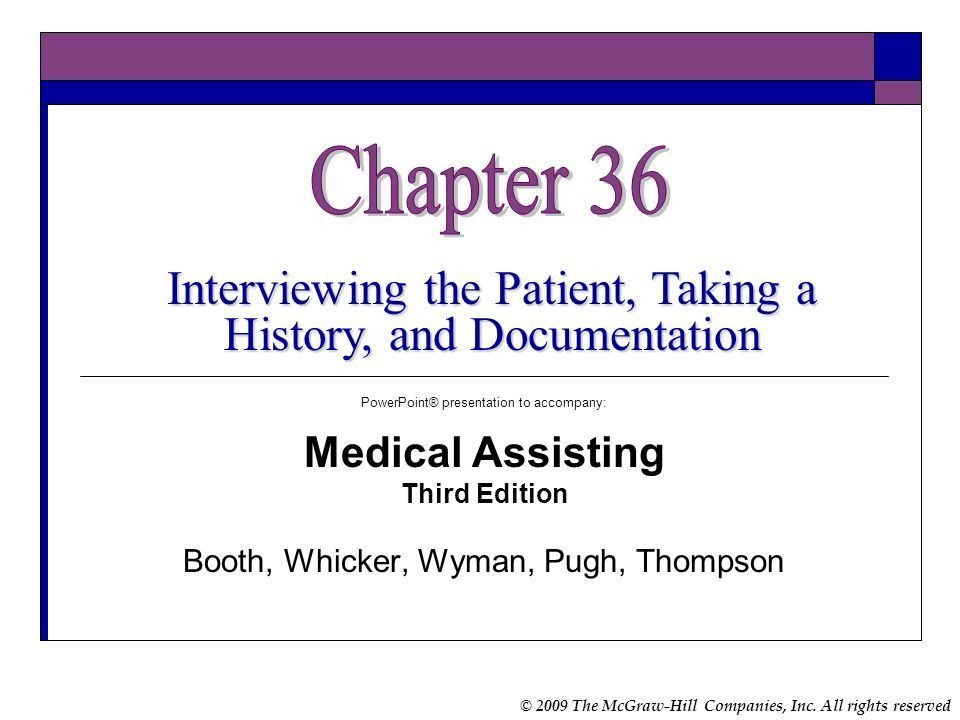 Chapter 36 Interviewing the Patient, Taking a History, and ...