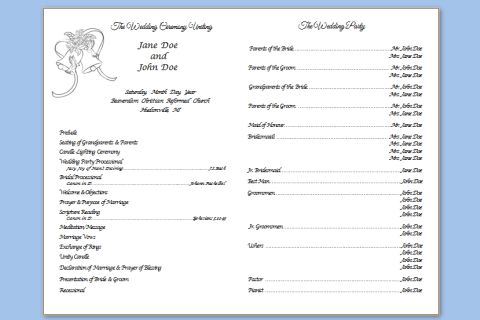 Folded Wedding Bells Template – Wedding Programs Templates